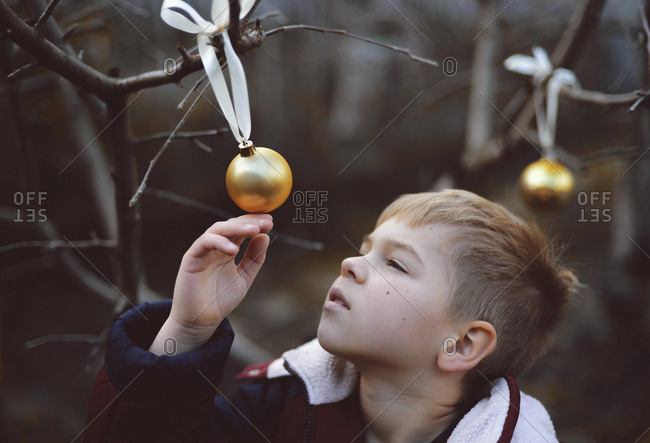 Close-up of boy looking at bauble hanging on bare tree