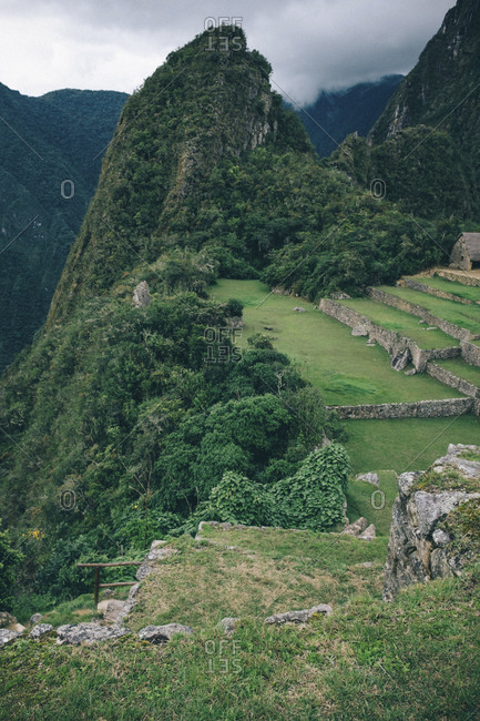 High angle view of old ruins and mountains