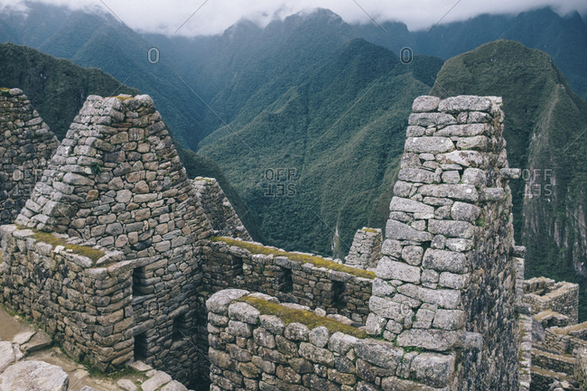 High angle view of old ruins and mountains at Machu Picchu