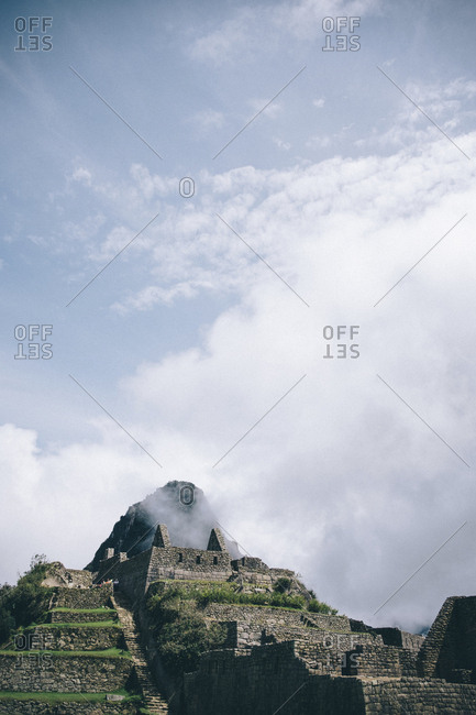 Low angle view of old ruins against sky at Machu Picchu