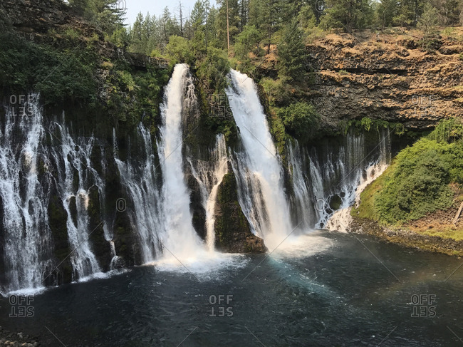 Scenic view of Burney Falls at state park