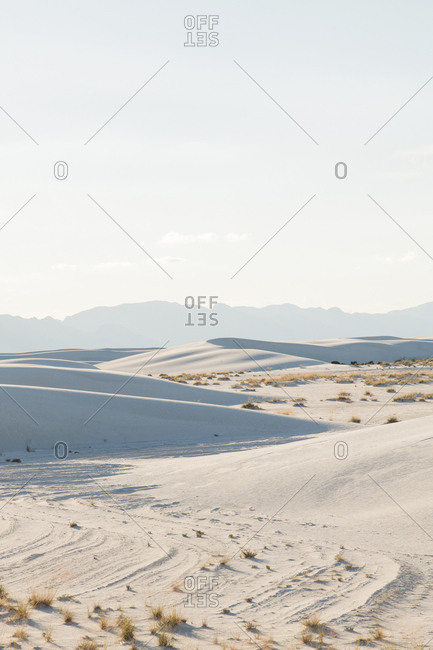 Scenic view of White Sands National Monument against sky during sunny day