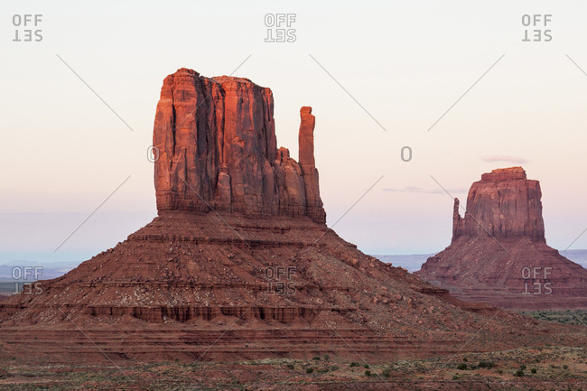 Rock formations against sky at Monument Valley Tribal Park during sunset