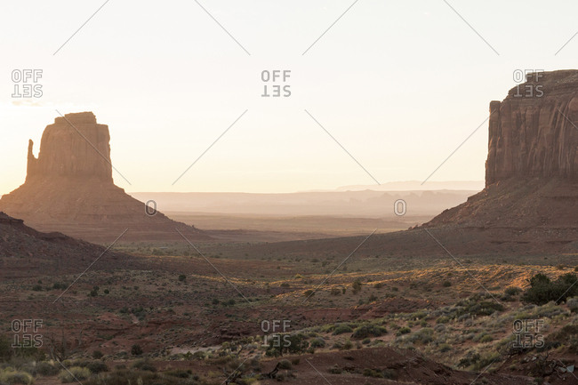 Scenic view of Monument Valley Tribal Park against sky during sunset
