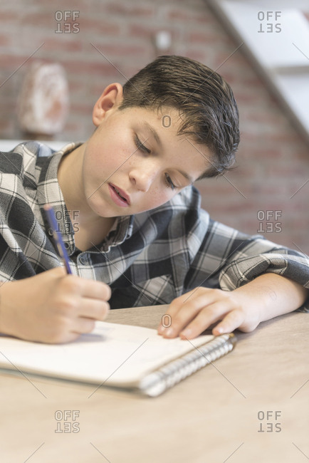 Boy coloring on spiral notebook at table