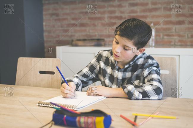 Boy coloring on spiral notebook with colored pencil at table in home
