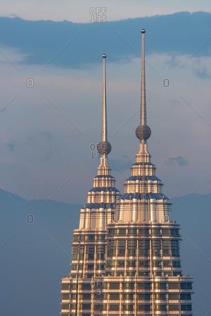 Kuala Lumpur, Malaysia - March 22, 2018: Petronas Twin Towers at sunset