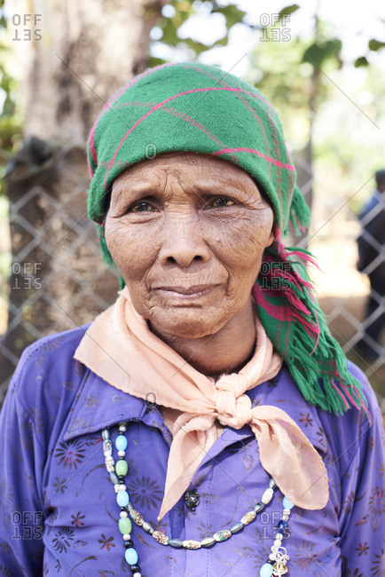 Central Highlands, Vietnam - January 9, 2018: Portrait of Vietnamese senior female from a minority ethnic group at village