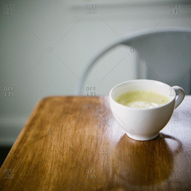 Green tea latte served in a mug