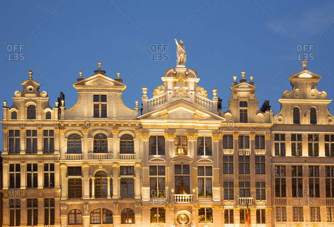 Facade of Guild Halls in the Grand Place in Brussels, Belgium