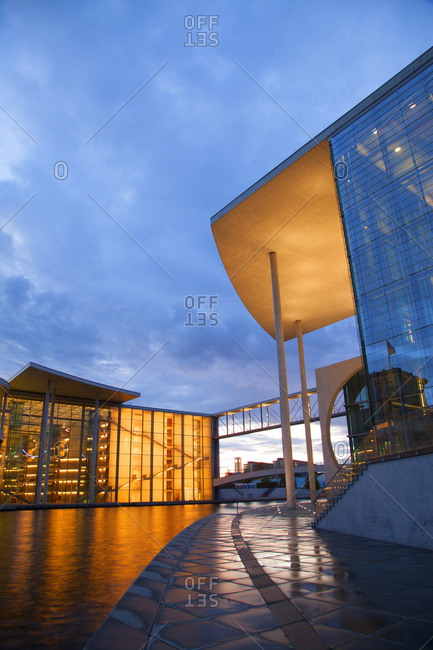 Berlin, Germany - July 18, 2009: View of Marie Elizabeth-Lunder building on banks of River Spree