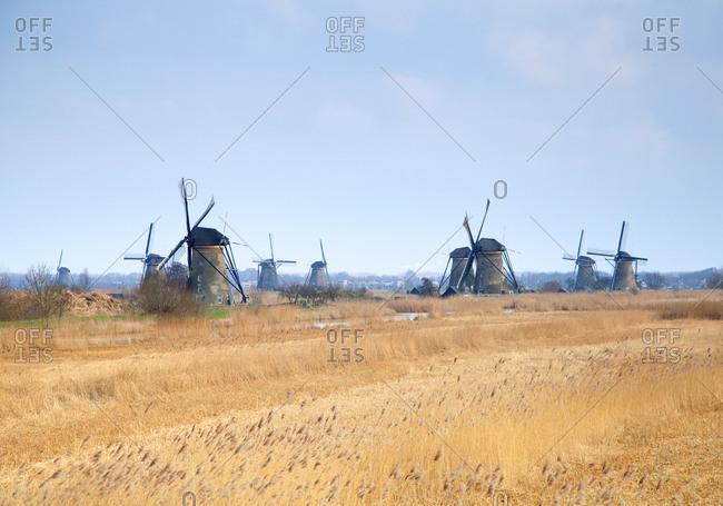 Soft light illuminating the windmills of Kinderdijk, Holland