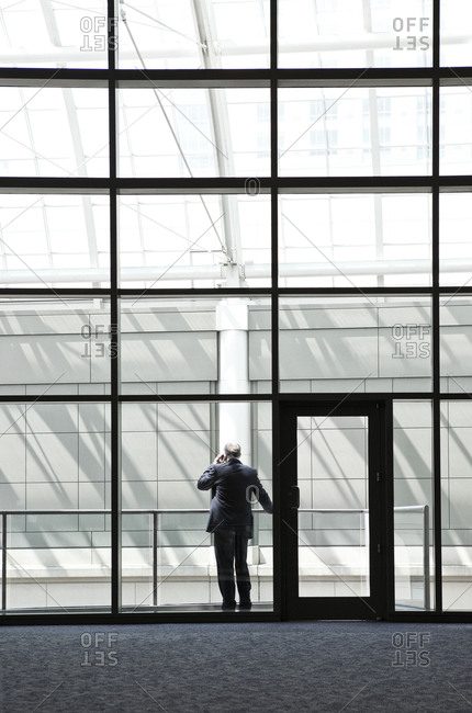 Businessman in a large lobby area