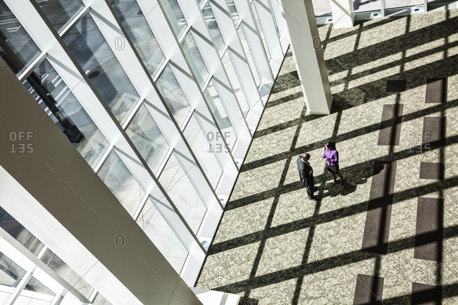 Black businessman and woman meeting next to a large bank of windows in the lobby of a large business center.
