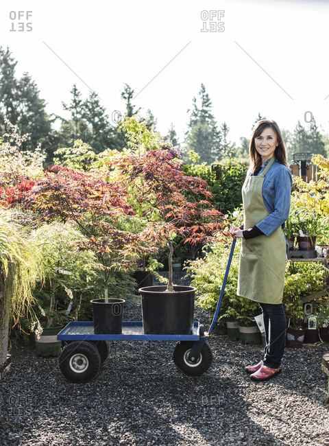 Caucasian woman owner of a garden center nursery with a wagon full of new plants.