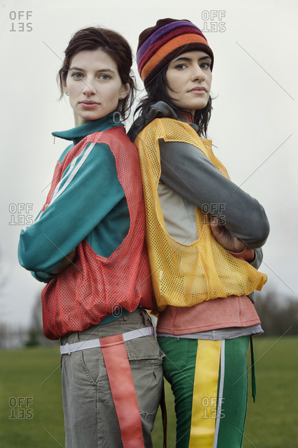 Portrait of two caucasian women who play sports outside in the winter.