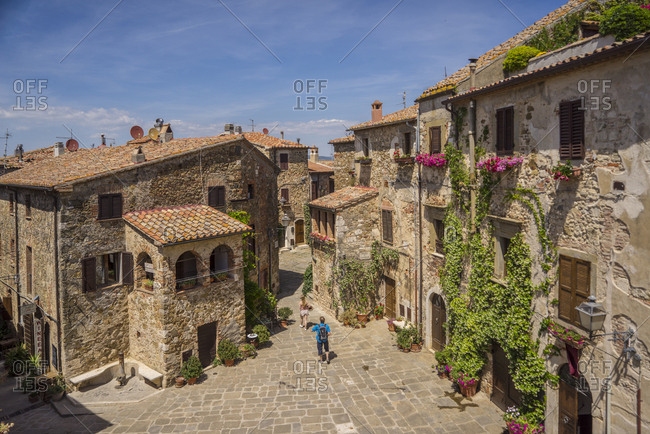 Manciano, Tuscany, Italy - June 9, 2017: Montemerano is an ancient village of the Tuscan Maremma perched on top of a hill