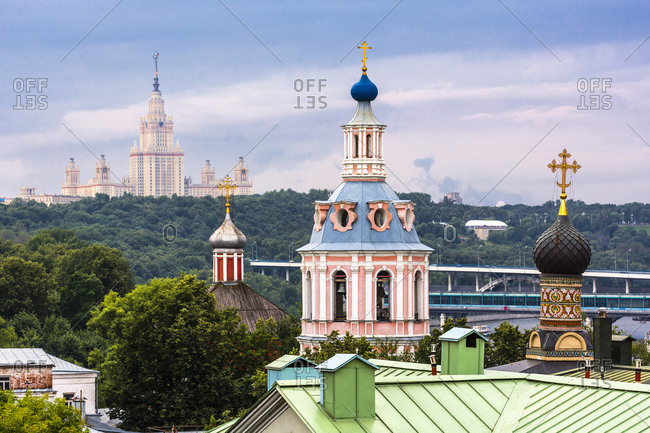 The domes of St. Andrew's Monastery and, on the left, the Moscow State University (one of the Seven Sisters, constructivist style), Russia