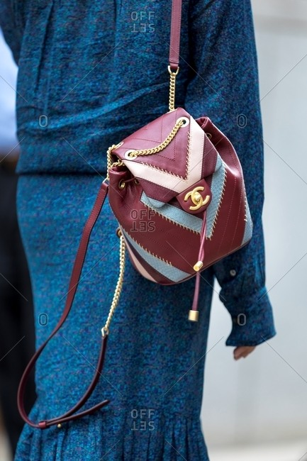 New York - March 16, 2018: Close-up of quilted designer shoulder bag