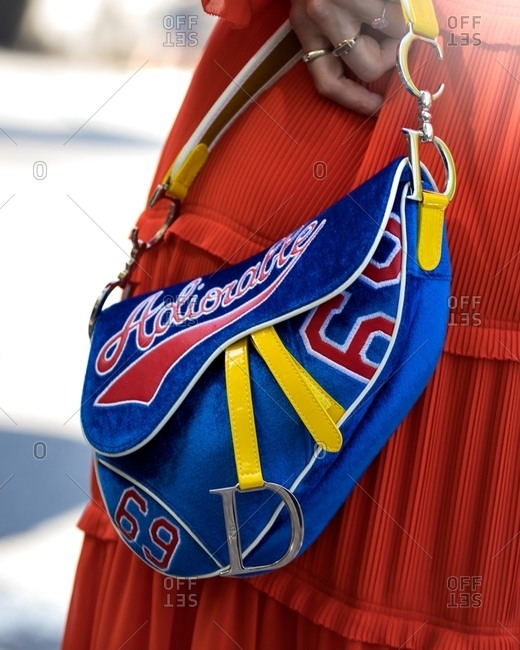 New York - March 16, 2018: Detail of woman's sports themed purse design