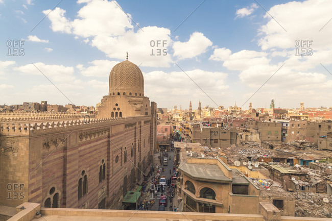 Islamic Cairo, Egypt, Germany - April 13, 2017: High angle view of city during daytime