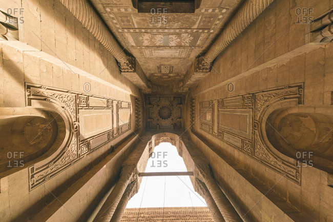 Al Rifa'i Mosque, Egypt, Greater Cairo, Egypt - April 8, 2017: Directly below view of entrance archway of Al-Rifai Mosque