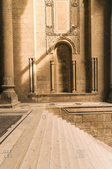 Al Rifa'i Mosque, Egypt, Greater Cairo, Egypt - April 8, 2017: Entrance steps of Al-Rifai Mosque