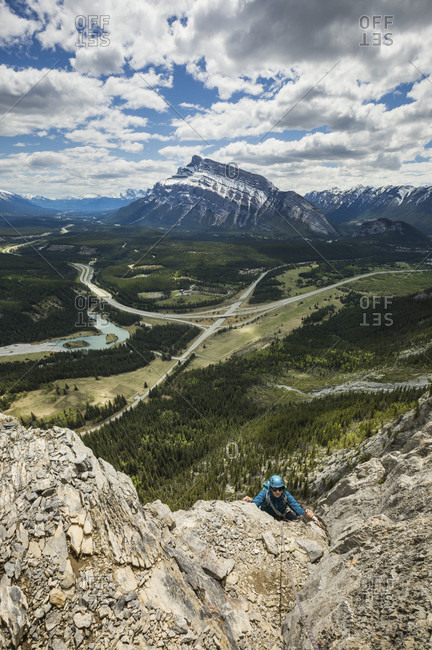 Mountain climber at Mothers Day Buttress, Banff National Park, Alberta, Canada