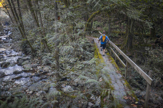 Man trail running across footbridge near Elbow Lake in Fraser Valley, Harrison Mills, British Columbia, Canada