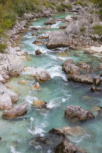 Emerald Soca river near Bovec, Triglav, Slovenia