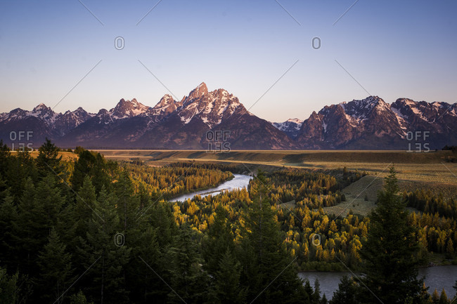 Snake river and Tetons in background during sunrise in Grand Teton National Park, Wyoming, USA