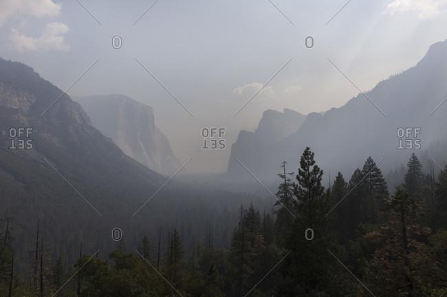 Yosemite Valley in smoke from nearby wildfires, Yosemite National Park, California, USA