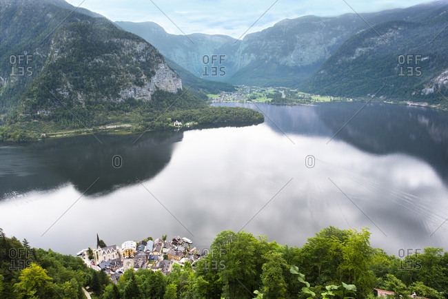 Mountains and sky reflecting in lake during daytime, Hallstatt, Upper Austria, Austria