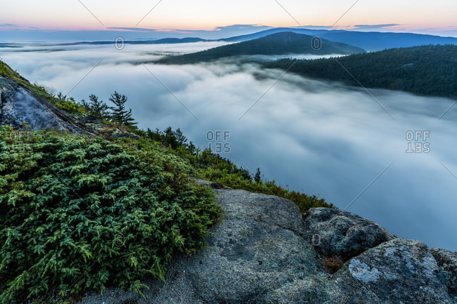Fog rising from Echo Lake at dawn in Acadia National Park, Maine, USA