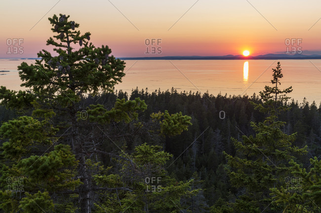 Sunset as seen from Duck Harbor Mountain on Isle au Haut in Acadia National Park, Maine, USA