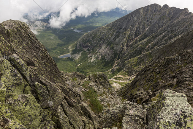 View towards Pamola Peak from Knife Edge Trail on Mount Katahdin in Baxter State Park, Maine, USA