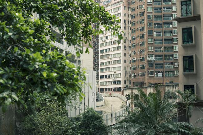 Hong Kong high rises and empty road