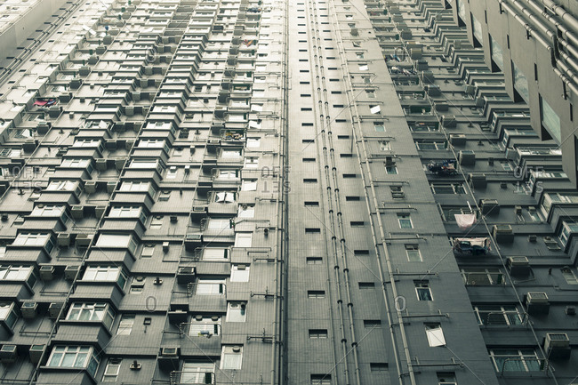 Lower view of tall Hong Kong housing complex