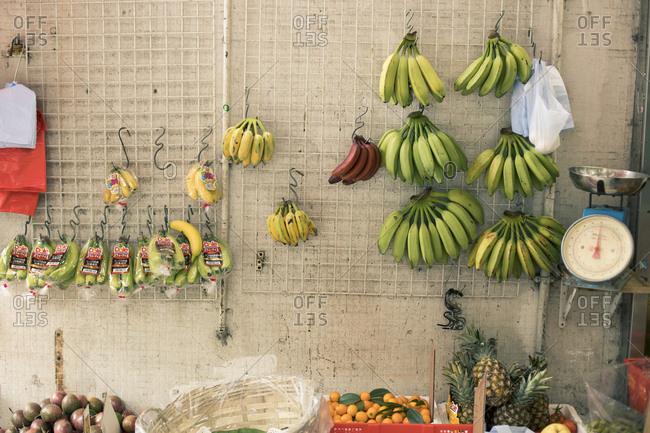 Hong Kong, People's Republic of China - March 18, 2018: Produce marketplace booth in Hong Kong
