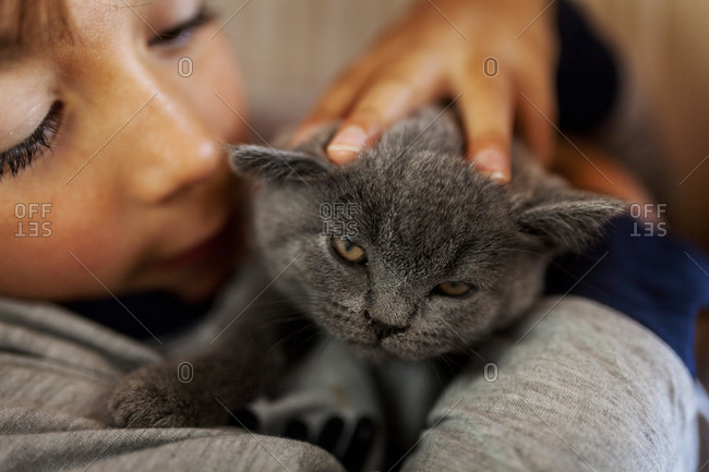 Child holding and petting cat