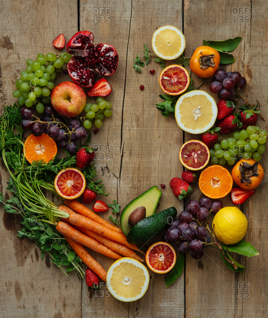 Fresh produce prep in wreath shape on wooden counter