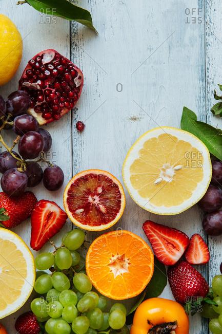 Overhead detail of miscellaneous fresh fruit