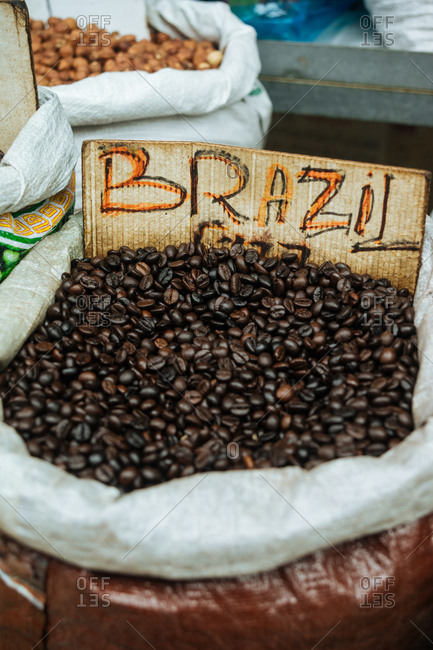 Close-up of fresh whole coffee beans at market