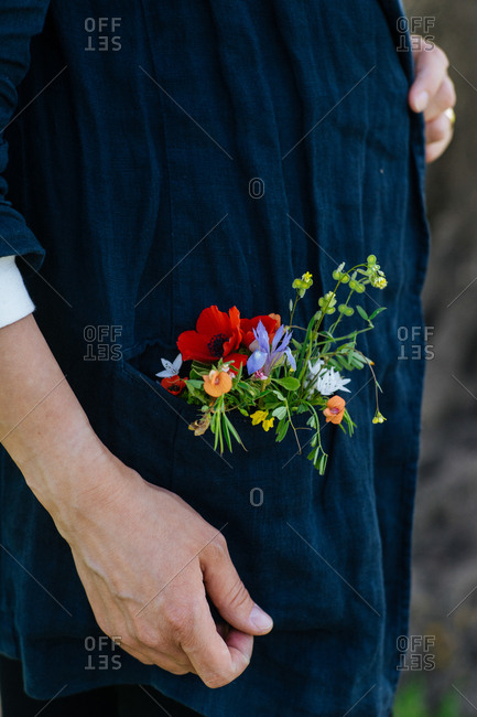 Detail view of fresh picked flowers in shirt pocket