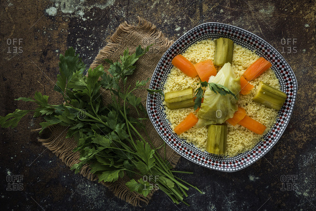 Delicious couscous homemade. With vegetables on  food.