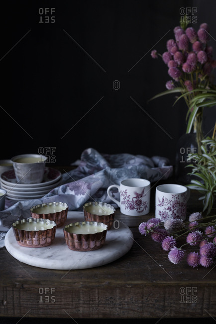 Sweet rustic desserts on wooden table