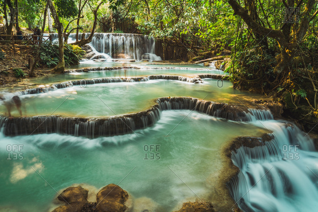 Beautiful small waterfalls flowing