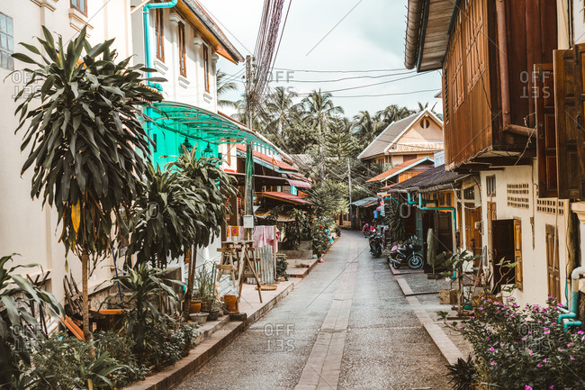 Perspective view to road on narrow street and small houses in tropics.