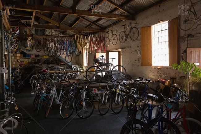 Various bicycles in workshop
