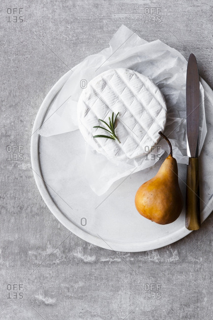 Camembert Cheese with a pear